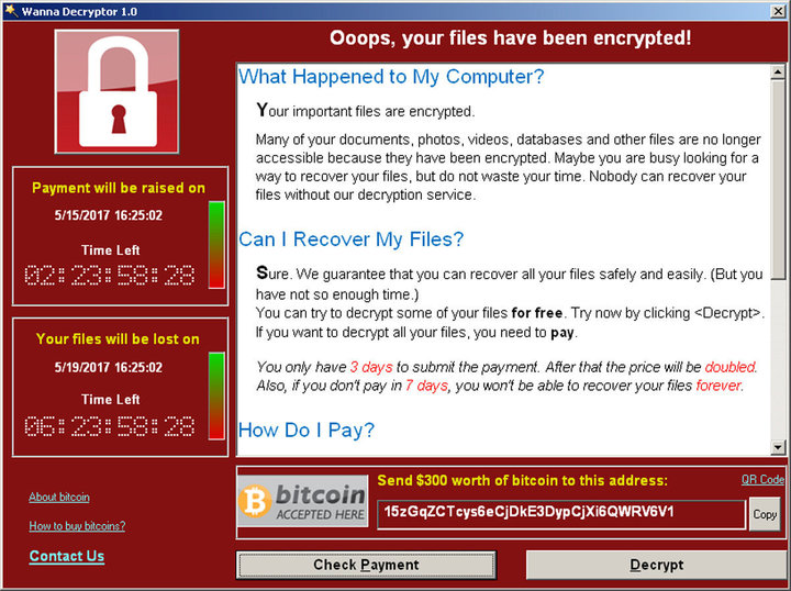 A screenshot shows a WannaCry ransomware demand, provided by cyber security firm Symantec, in Mountain View, California, U.S. May 15, 2017. Courtesy of Symantec/Handout via REUTERS ATTENTION EDITORS - THIS IMAGE WAS PROVIDED BY A THIRD PARTY. EDITORIAL USE ONLY. NO RESALES. NO ARCHIVE.?